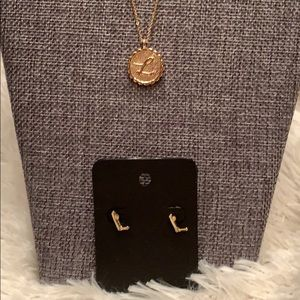 Jewelry - - Monogram L necklace and earrings